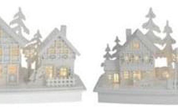 Dřevěná LED dekorace Vánoční vesnička, 45 x 14 x 20 cm2