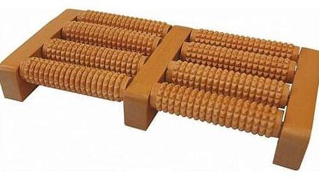 MODOM Akupresurní masážní roler na chodidla dřevěný - SJH 310