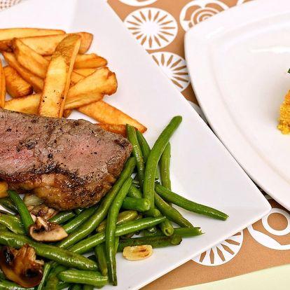 Menu pro 2: steak z býčka, salát a mrkvový dort