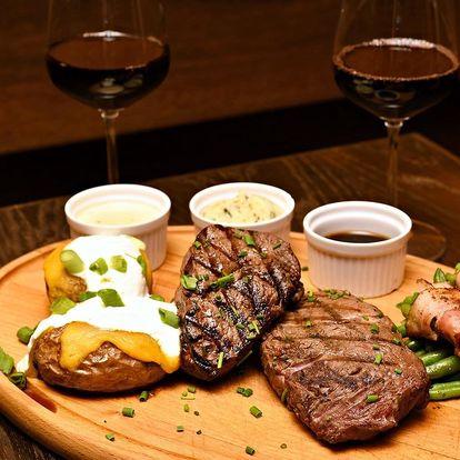 Steakové degustační menu a víno pro 2 osoby
