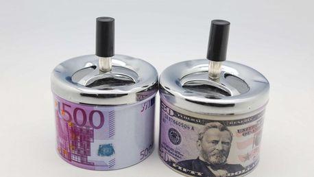 Kovový popelník se vzorem bankovky