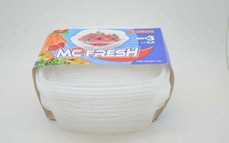 SADA 3ks Plastových Čtvercový dóz na potraviny 0,9l*175x165x57mm