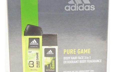 Adidas Pure Game dárková kazeta pro muže deodorant sklo 75 ml + sprchový gel 250 ml
