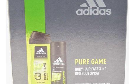 Adidas Pure Game dárková kazeta pro muže deodorant ve spreji 150 ml + sprchový gel 250 ml