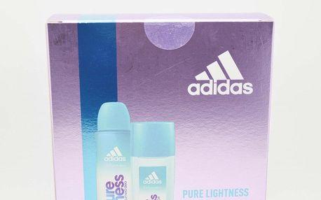 Adidas Pure Lightness dárková kazeta pro ženy deodorant sklo 75 ml + sprchový gel 250 ml