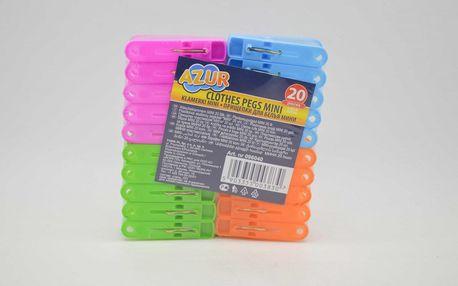 Kolíčky na prádlo mini 20ks plastové