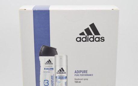 Adidas Adipure dárková kazeta pro muže deodorant ve spreji 150 ml + sprchový gel 250 ml