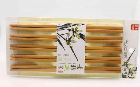 Sada 10 párů čínských hůlek - světlá barva