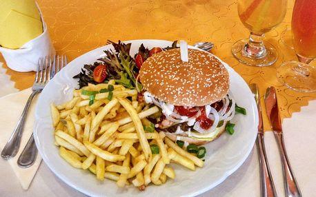 Kuřecí, hovězí nebo vepřový burger a hranolky
