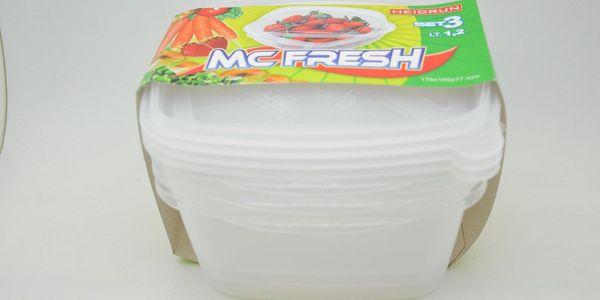 SADA 3ks Plastových Čtvercových dóz na potraviny 1,2l *175x165x77mm