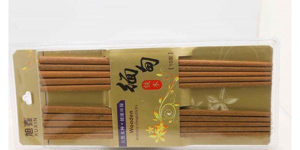 Sada 10 párů čínských hůlek - tmavá barva