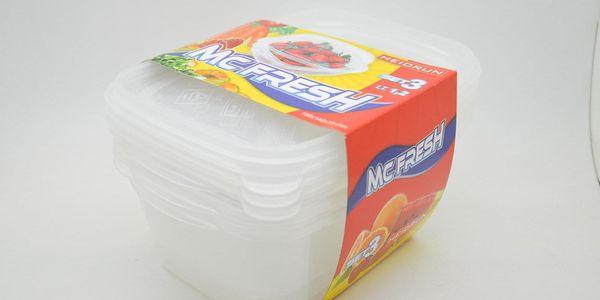 SADA 3ks Plastových Obdélníkových dóz na potraviny 1,2 l*198x142x77mm