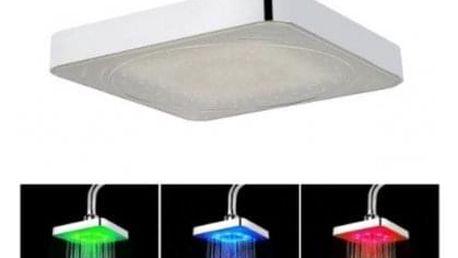 LED sprchová hlavice hranatá