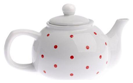 Keramická konvička na čaj Dots 1 l, bílá