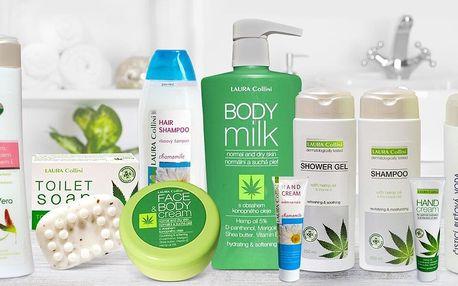 Krémy, mýdla, gel i šampon s konopím i heřmánkem