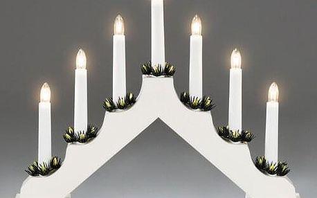 Adventní svícen dřevěný Gavar, bílá