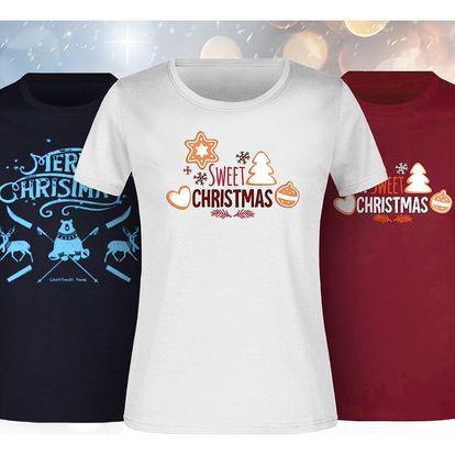 Dámská a pánská bavlněná trička s vánočními motivy