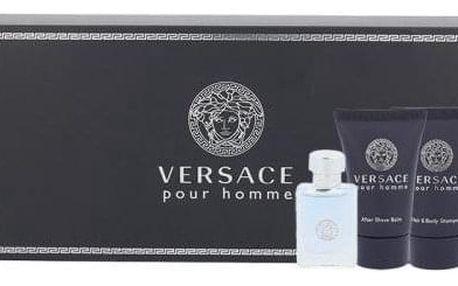 Versace Pour Homme dárková kazeta pro muže toaletní voda 5 ml + sprchový gel 25 ml + balzám po holení 25 ml miniatura