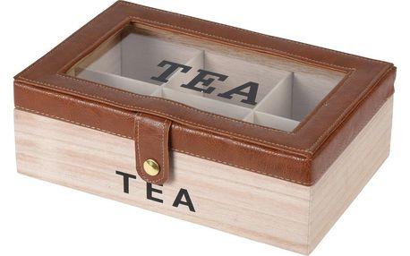 Box na čajové sáčky s koženkou, 24 x 16 x 8 cm, hnědá