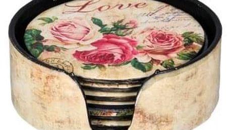 Podtácek Love, pr. 12 cm, sada 6 ks