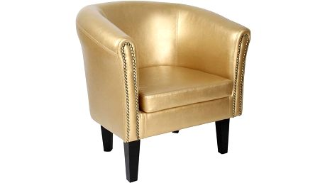 Miadomodo 74409 Křeslo Chesterfield, 58 x 71 x 70 cm, zlaté