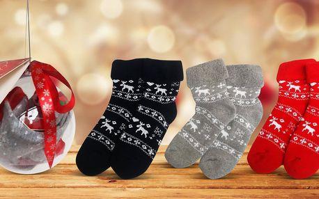 Termo ponožky v dárkové kouli: sob, los i Santa
