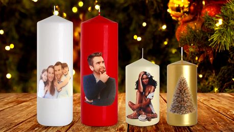 Svíčky s vlastním potiskem: fotka, logo nebo text
