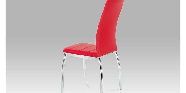 Jídelní židle chrom / koženka červená AC-1295 RED2