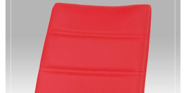 Jídelní židle chrom / koženka červená AC-1295 RED3
