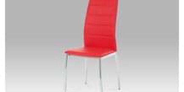 Jídelní židle chrom / koženka červená AC-1295 RED