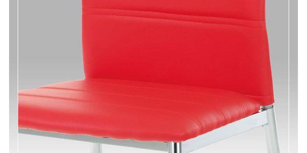 Jídelní židle chrom / koženka červená AC-1295 RED4