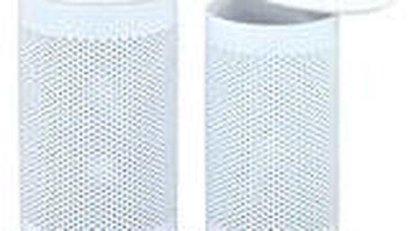 Prádelní koš / taburet - set 2 ks, kov - bílý lak, bílá ekokůže 83300-01 WT