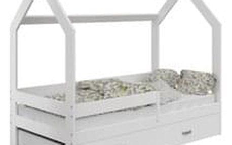Dětská postel Domek 80x160 cm D3, rošt ZDARMA - bílá bez matrace bez úložného prostoru bílá