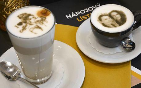 1 nebo 2 kávy s vaší fotkou na mléčné pěně