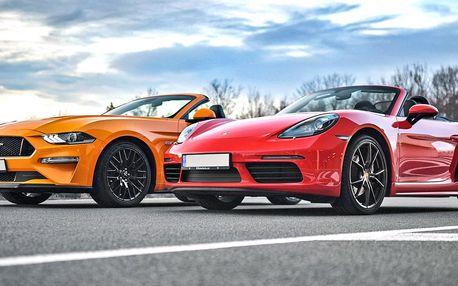 Až 120min. řízení nového Porsche 718 a Mustangu GT 5.0 Cabrio