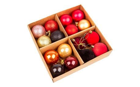 Sada vánočních ozdob Melide červená, 16 ks, pr. 6 cm