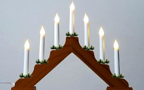 Adventní svícen s taženou žárovkou LED Filament, dub