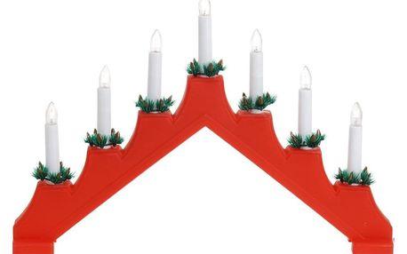 Vánoční svícen Candle Bridge červená, 7 LED