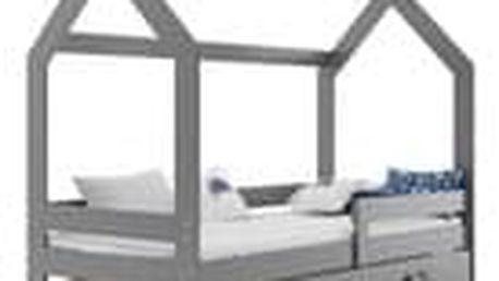Dětská postel Domek 80x160 cm, grafit + rošt a matrace ZDARMA