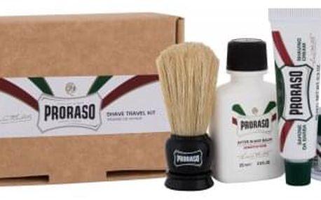 PRORASO Shave Travel Kit dárková kazeta pro muže balzám po holení Green 25 ml + krém před holením Green 15 ml + krém na holení Green 10 ml + štětka na holení