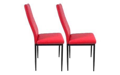 Miadomodo 74765 Sada jídelních židlí s PU kůže, červené, 2 ks
