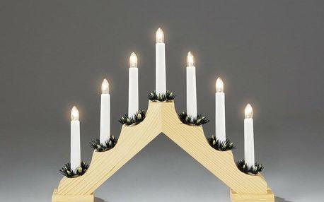 Adventní svícen dřevěný Gavar, světle hnědá