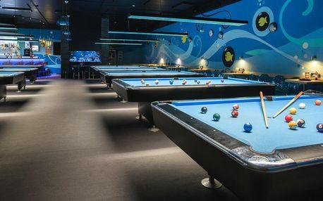 Karambol nebo billiard na profi stolu a pizza