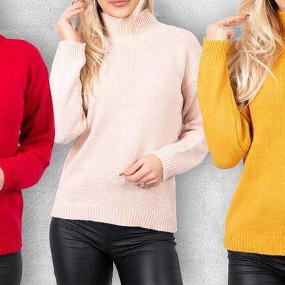 Dámské hřejivé svetry s polorolákem v 8 barvách