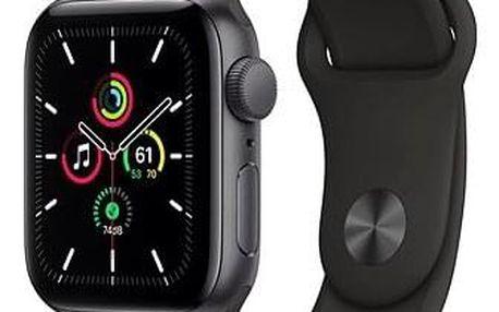Apple Watch SE 44mm Vesmírně šedý hliník s černým sportovním řemínkem (mydt2vr/a)