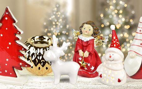 Vánoční dekorace z keramiky: svícny, andělé i sobi