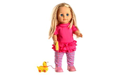 Teddies Mluvící a chodící panenka Sofinka s pejskem, 42 cm