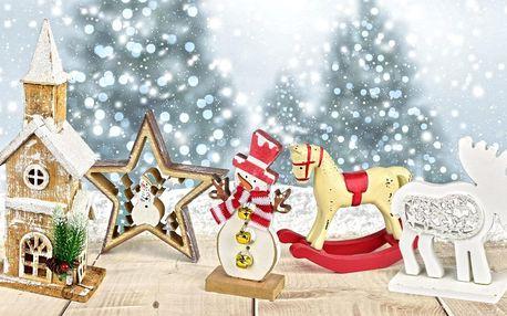 Vánoční dřevěné dekorace: koník, anděl i kostelíček