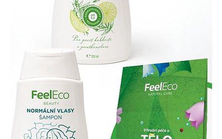 Dárkový balíček Kosmetika Feel Eco Sprchové gely: Limetka & Bambus 300ml, Šampony: Suché vlasy, Kosmetika: Krabička kosmetiky Feel Eco