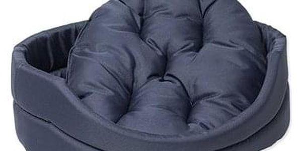 DOG FANTASY pelech oval s polštářem 54×46×16cm tmavě modrý